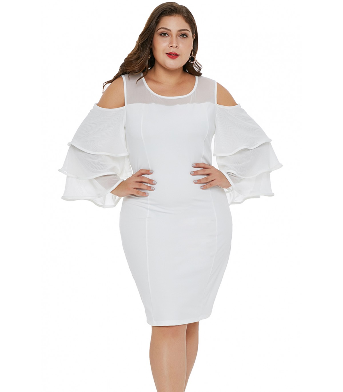 d23fcf09952 White Cold Shoulder Cascading Sleeve Plus Size Dress