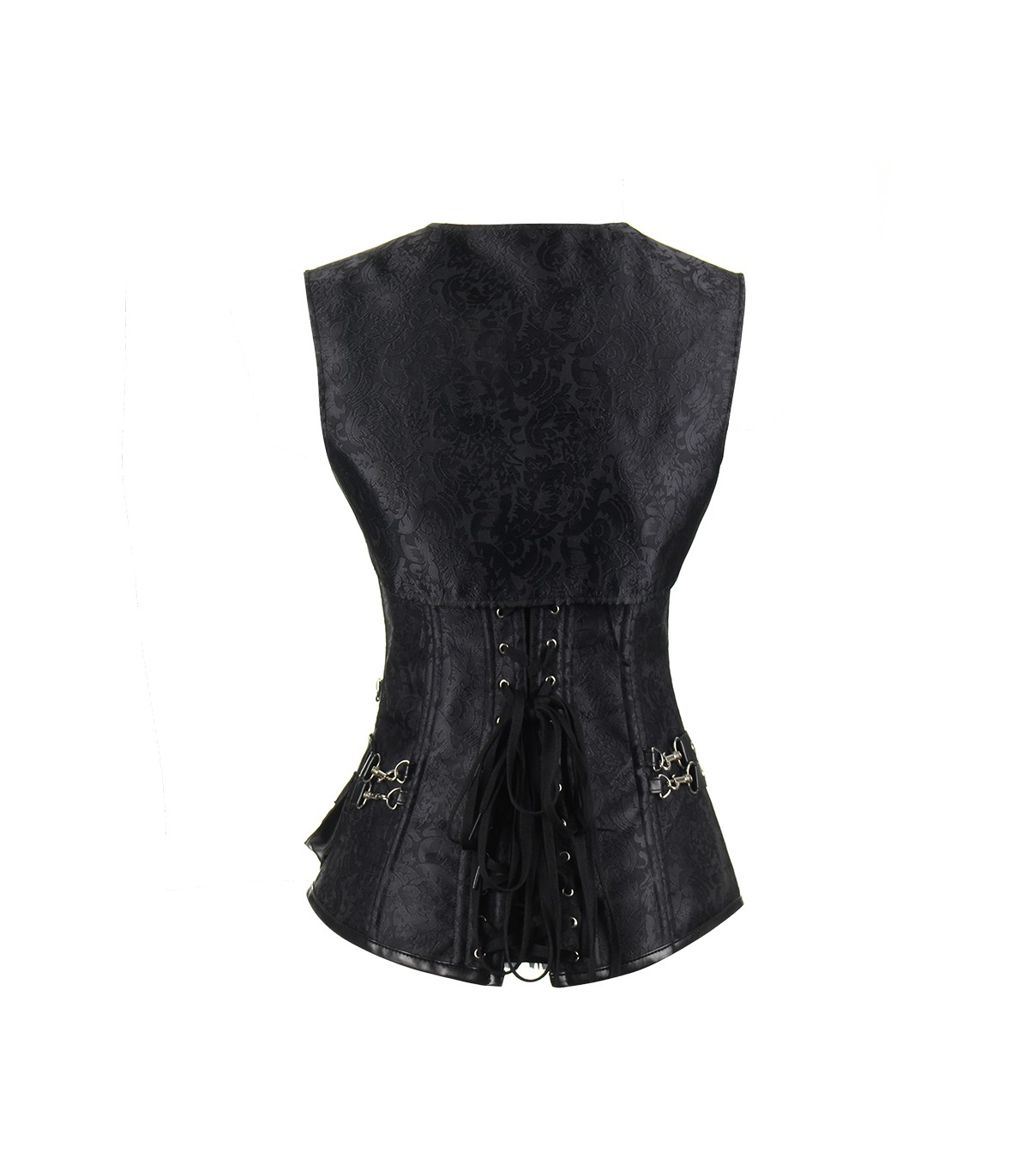 871092dad Jacquard Lace Up Back Gothic Overbust Steel Boned Corset