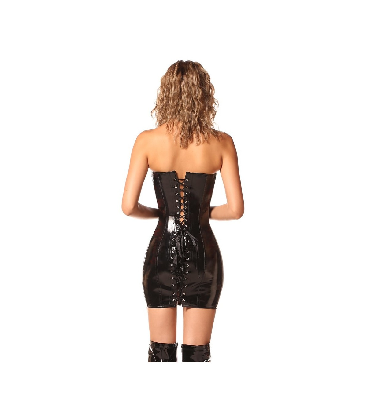 6619ba0730 Steampunk Wetlook Leather Long Corset