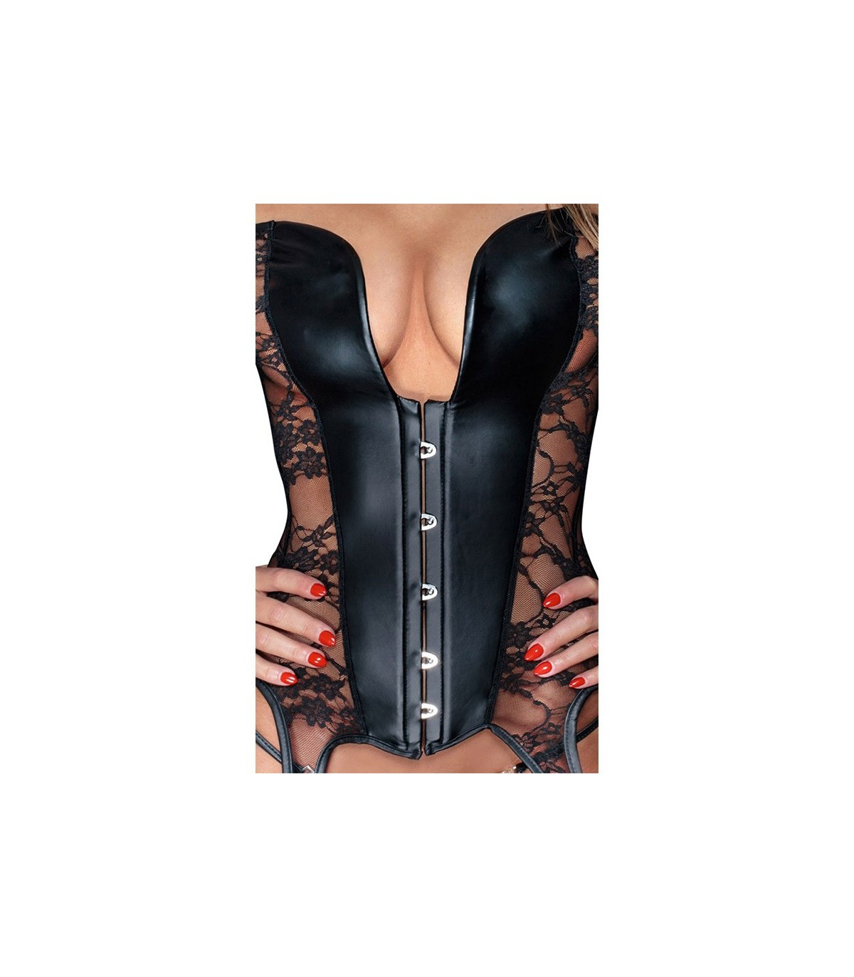0fb2bf38c3 Sexy Steampunk Overbust Leather Corset Lingerie